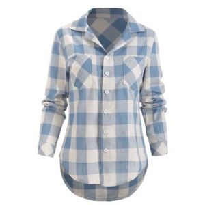 Tops - Plaid Double Pocket Button Down Shirt